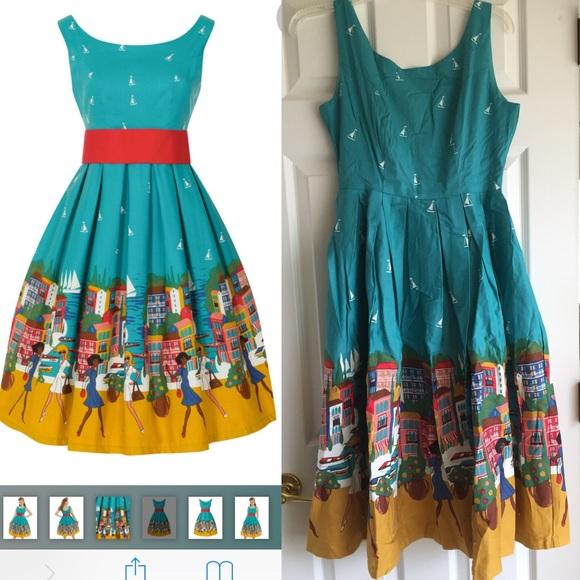581969e31dcb Lindy Bop Dresses   Lana Portofino Teal Swing Dress Us Sz 6   Poshmark